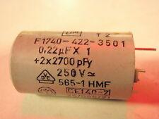 Condensador 0,22uf+2x2700pf 250v ac kiloohmios ektrische dispositivos set con 3 stk.1178