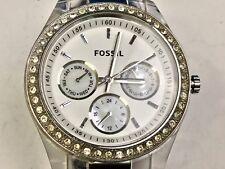 Fossil Stella White Dial Multifunction Ladies Rhinestone Watch  ES-2821 Working