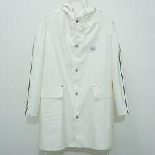 GRUNDENS of SWEDEN Mens PVC Off White Hooded Raincoat Jacket Size M