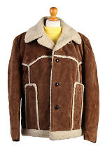 Sheepskin Coat Suede Leather Bomber Flying Jacket Aviator Fur Lined SizeXXL-C454