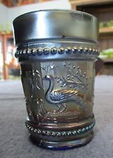 ANTIQUE DUGAN BLUE CARNIVAL GLASS PEACOCK AT THE FOUNTAIN TUMBLER