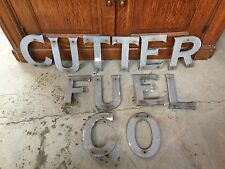 Antique Sign Petroleum Cutter Fuel Company Cast Aluminum Letters Gas Station