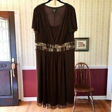 R&M Richards Dress Brown Flutter Short Sleeves Embellished Plus Size 16W