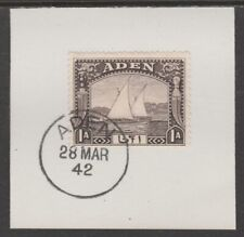 909515  ADEN 1937 DHOW 1a  on piece with  MADAME JOSEPH FORGED POSTMARK