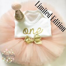 Nude/Blush And Gold Cake Smash/1st Birthday Outfit With Mini Party Hat