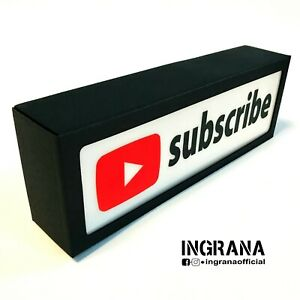 Insegna luminosa SUBSCRIBE a batterie in cartotecnica, luce youtube, light box