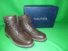 "NAUTICA MEN'S Sz 9.5 /EUR 42-43  ""Bulward Boots"" Brown Moc Toe Boot NEW IN BOX"