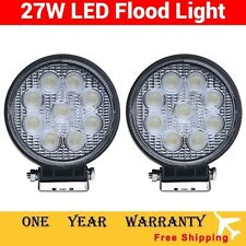 2pcs 27W 12V 24V Flood LED Work Light Round Lamp Driving DRL 4WD Truck ATV SUV