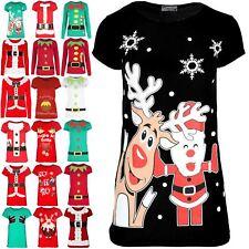 Womens Christmas Santa Rudolph Snowflake Ladies Round Neck Jersey T Shirt Top