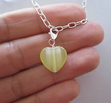 925 Sterling silver Yellow CAT'S EYE HEART gemstone clip on charm pendant