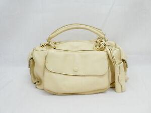 Auth BOTTEGA VENETA Boston Bag Handbag White/Gold Leather/Goldtone - AUC0256