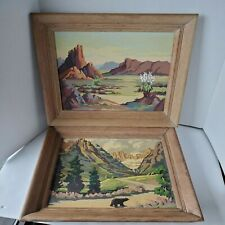 Two Vintage Paint by Number Paintings LANDSCAPE American West Cactus Bear 16x20