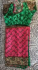 New Indian Designer Half And Half Green Pink Saree Sari With Stitched Blouse