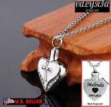 Engraved Personalized Cross My Heart Cremation Jewelry Keepsake Urn Ash Necklace