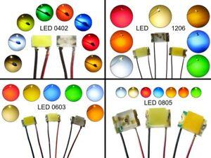 SMD LED 0402 0603 0805 1206 mit Kupferlackdraht Draht Kabel LEDs Farben AUSWAHL