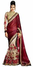 Indian Ethnic Net&Lycra Maroon Embroidered Saree Sari D.No SAR1630