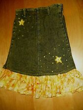 kiddie korral yellow print  stretchy jean skirt girls sz 22 waist