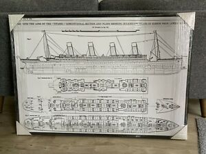 Titanic Deck Plan Large Canvas Wall Art in Black Wood Float Frame - BRAND NEW