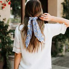 1PC Boho Print Ponytail Scarf Hair Bow Tie Dot Floral Scrunchie Ribbon Hair Band