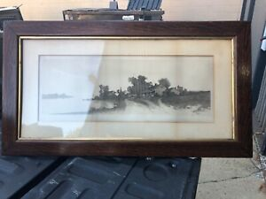 "vintage quartersawn oak frame signed etching 46/25"" frame 33/12"" art E Rost 1890"