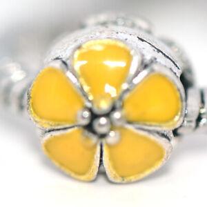1x Yellow Flower Silver Bead Charm Spacer Fit Eupropean Chain Bracelet DIY