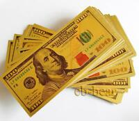 Lots 50 Pcs Color Gold Banknotes New Version USD 100 Dollars Money Crafts Gift