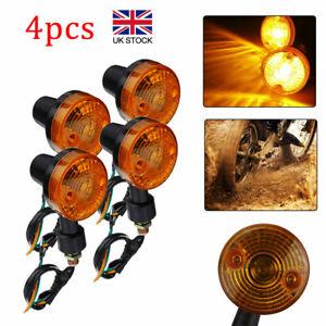 4x Motorcycle Indicators Motorbike Universal Turn Signal Lights Bullet Bulb Set