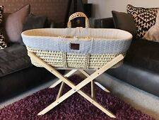 Little Green Sheep Knitted Moses Basket Carrycot,Stand, Protector & Fitted Sheet