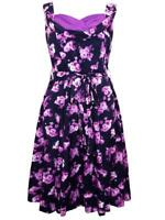 VINTAGE PURPLE/BLACK FLORAL SWEETHEART SWING 50s RETRO DRESS - SIZES 10 - 22