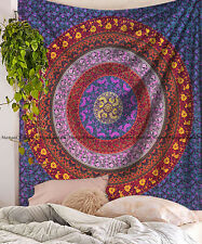 Indien multi mandala cotton tapestry bohemian wall hanging bedspread king size
