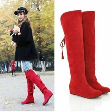 Over The Knee Boots Faux Suede Women Stretch Thigh Flat Warm Shoes Size Slouchy.