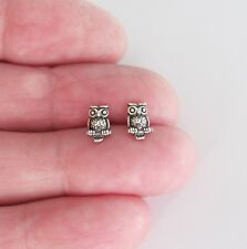 Sterling Silver 8mm antiqued tiny owl post stud earrings.