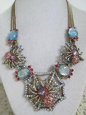 NWT Auth Betsey Johnson Spider Lux Pink Spider Web Medallion Statement Necklace