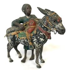 Antique Austrian Cold Painted Bronze Donkey And Arab Boy Vienna Possibly Bergman