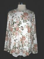 NEW BOBEAU Plus Size 1X Blouse Shirt Top White Pink Green Floral Long Sleeve