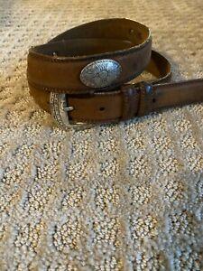 Sentry Belt Men Sz 35 Brown Leather Medallions Western Oval Silver Tone Conchos