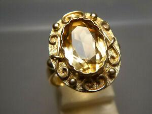 antik Ring 585 Gold Goldschmiedearbeit Citrin Facettenschliff ⌀ 17,5 mm  7,16 g