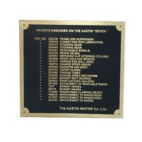 Austin 7 Seven Ruby Car Dashboard Patents Plate Badge Brass Plate 1937-39 AUD