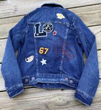 Vintage Polo Ralph Lauren Childs Denim Jean Jacket Patches Pep Squad Sz 8