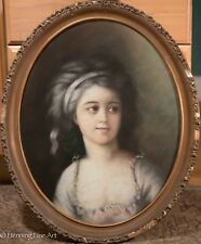 Beautiful Antique Victorian Pastel Portrait Painting, Young Woman in Dress, NICE
