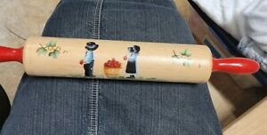 Red Handle Rolling Pin With Amish And Apple Painting On It