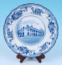 Antique Buffalo Pottery Historical American Transferware Mount Vernon Plate Blue