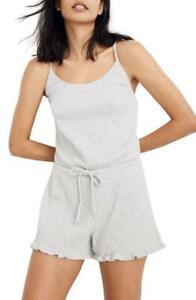 Madewell Womens M Grey Ribbed Ruffle Pajama Romper Sleeveless Playsuit NWT