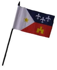 "Acadiana Louisiana 4""x6"" Flag Desk Set Table Stick Black Staff"