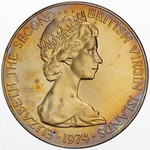 1974 BRITISH VIRGIN ISLANDS 50 CENTS MATTE UNC BU GOLDEN TONED GEM COLOR (DR)
