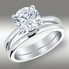 2.08 Ct Round cut Lab Engagement Ring & Solitaire Band in Solid 14k White Gold