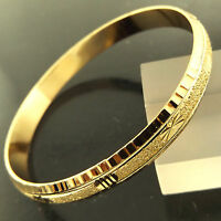 FSA288 GENUINE REAL 18K YELLOW GF GOLD ANTIQUE DESIGN SOLID CUFF BANGLE BRACELET