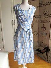 Sommerkleid Kleid Gr. 38 Hellblau-Weiß-Grau von Schneiderin angefertigt