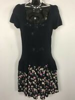 WOMENS RIVER ISLAND NAVY BLUE & PINK FLORAL DROP WAIST SUMMER DRESS SIZE 10 BNWT