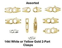 14K Solid Yellow/White Gold 2-Part Cast Hinged Lobster Clasp w/End Tab New Italy
